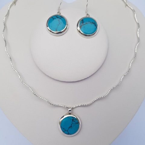 Turquoise Kitman Circular Stone 3 Piece Set on 925 Sterling Silver