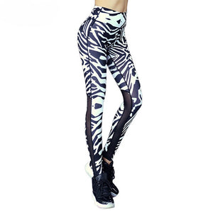Fitness Mesh Splice Zebra Leggings