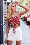 Simplee Sexy strapless polka dot crop top