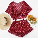 Burgundy Polka Dot Knot Top And Ruffle Hem Shorts Set