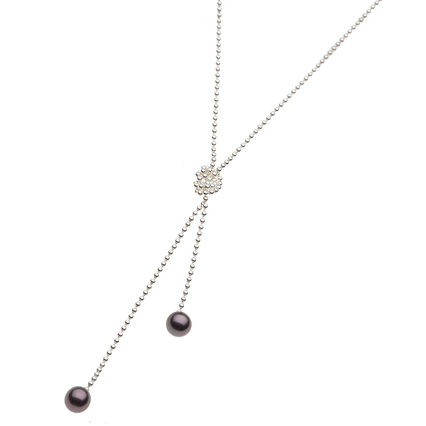 Floating Pearl Lariat Necklace