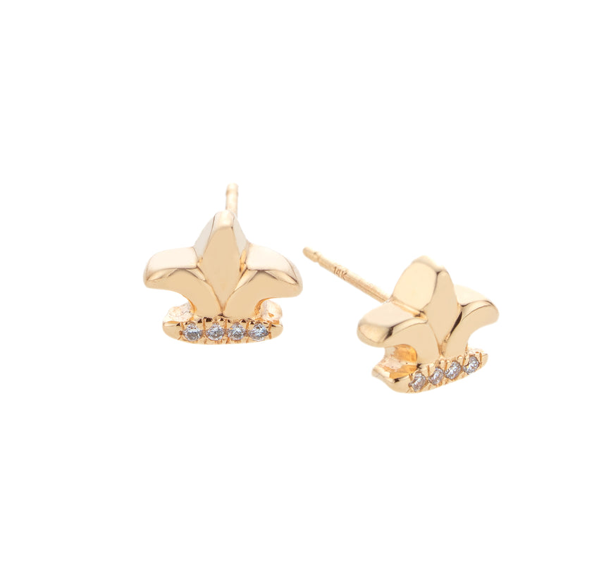 Mini Fleur-de-lis Diamond Earrings