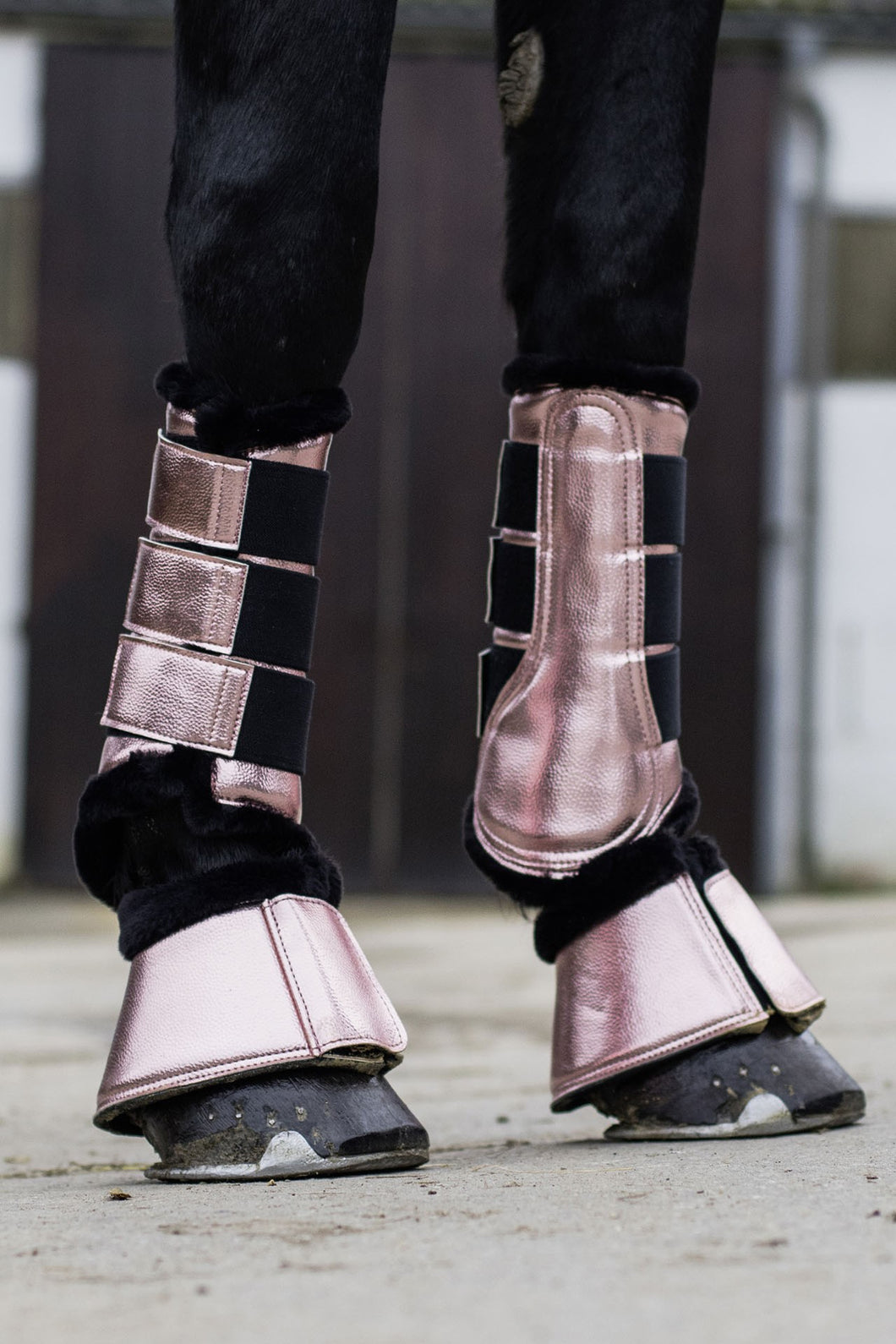 hkm metallic rose gold protection boots
