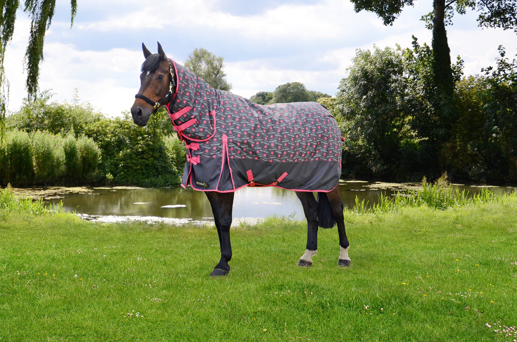 StormX Original Keep Calm and Get Muddy 200 Combi Turnout Rug (with rose gold)