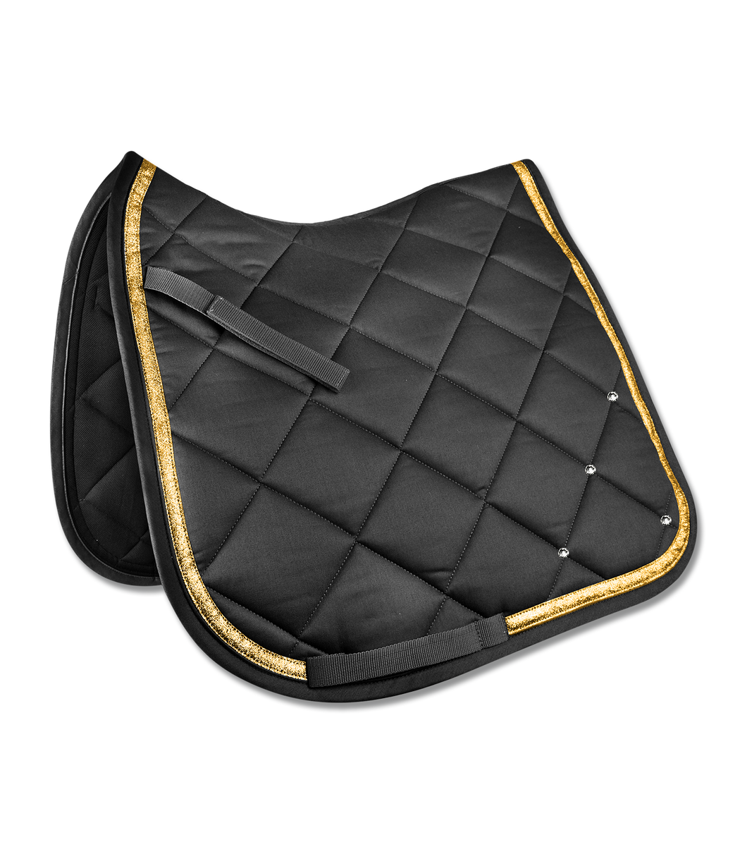 Black and gold saddle pad w