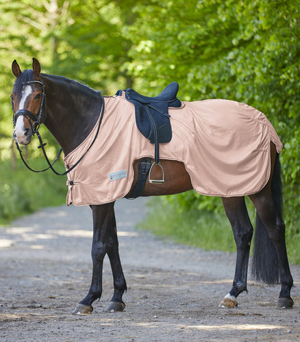 Pale rose pink fly exercise rug