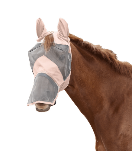 W rose pink fly mask with nose