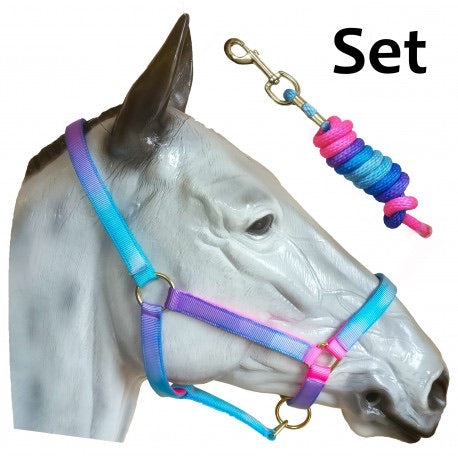 S Aqua unicorn Head collar and rope set