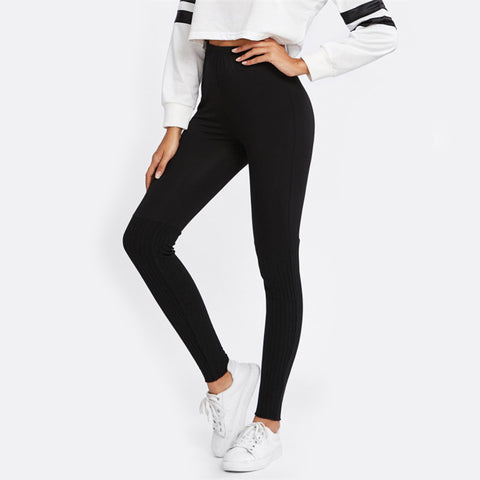 Black Rib Knit Leggings