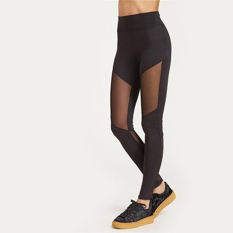 Black Minimal Mesh Leggings