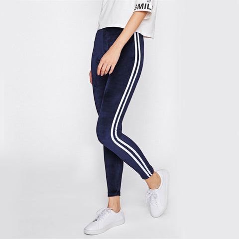 Blue Velvet Stripe Leggings