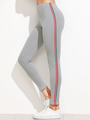 Classic Side Stripe Grey Leggings