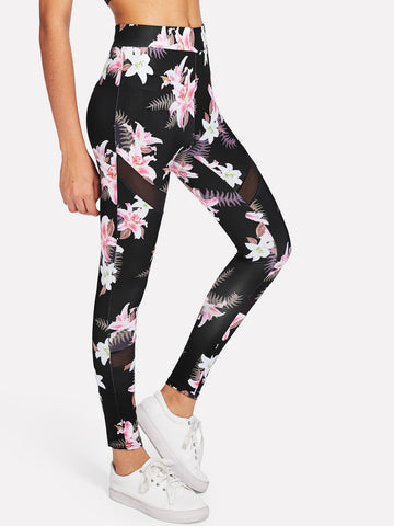 Dark Floral Mesh Panel Leggings