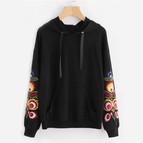 Flower Embroidery Casual Hoodie Black