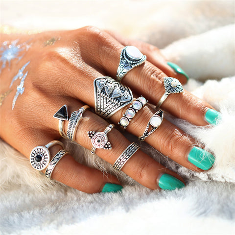 Greek Aqua Silver Ring Set