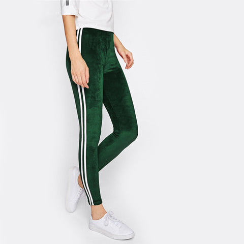 Green Velvet Stripe Leggings