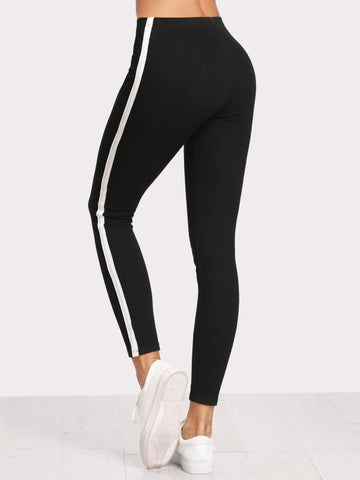 Midnight Black Side Stripe Leggings