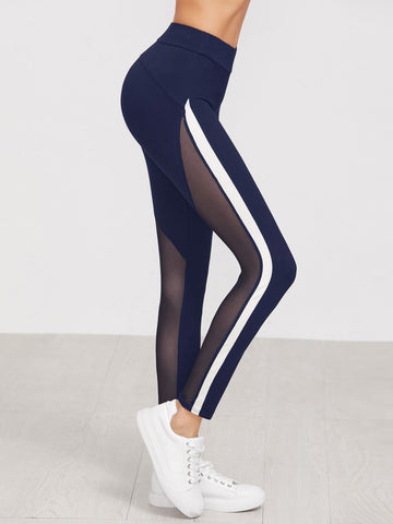 Navy Mesh Side Stripe Leggings