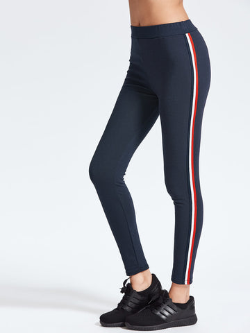 Classic Side Stripe Navy Leggings