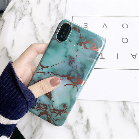 Marble Melt Teal/Rose Gold iPhone Case