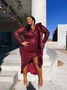 Berry Bling | Maroon Sequin Wrap Front Dress