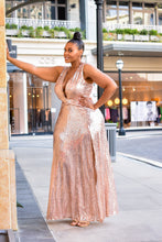 Load image into Gallery viewer, Golden Hour Rose Gold Sequin Thigh Slit Dress