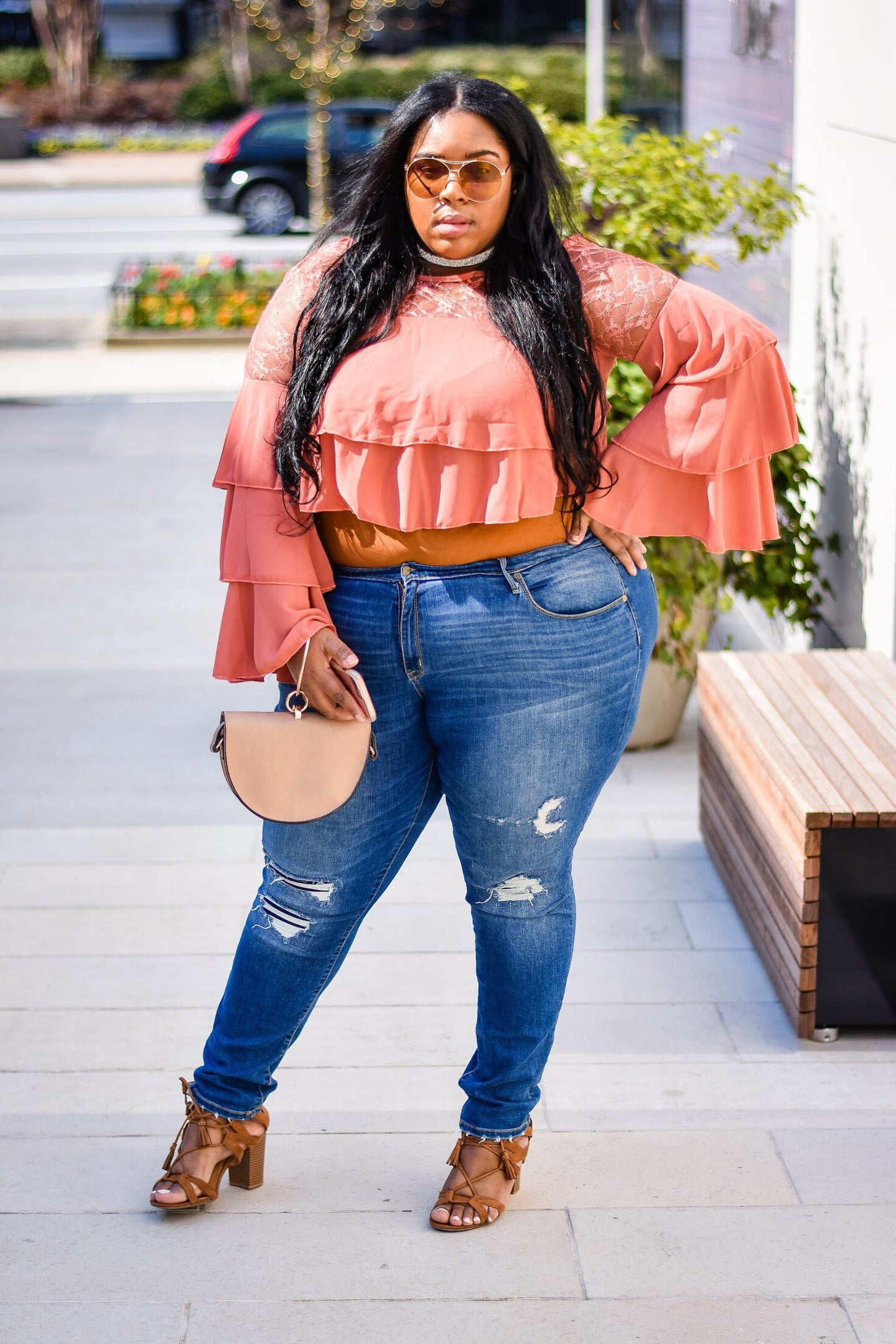 Chella' Tiered Sleeve Crop Top