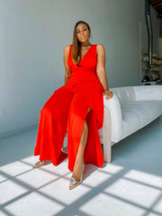 Showing Out| Red Split Leg Jumpsuit