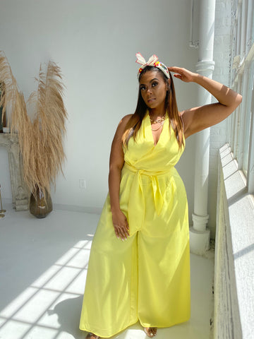 Time to Shine | Yellow Wide leg Jumpsuit
