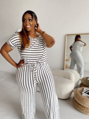 Stripe me down | White & Black Striped Jumpsuit