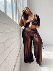 Bronze Bombshell | Bronze Metallic Jumpsuit