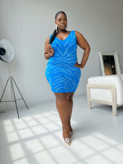 In Too Deep | Turquoise Rhinestone Mesh Dress