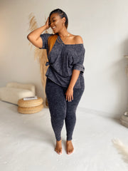 Cozy and Cute | Charcoal  Acid wash set- Ships 6/26/20