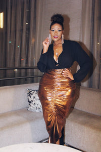 Walking Trophy | Bronze Ruched High Waist Maxi Skirt