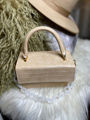 Croc Box | Ivory Crocodile Box Bag