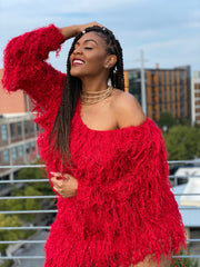 Shag Swag  | Red Stretch Sweater Dress