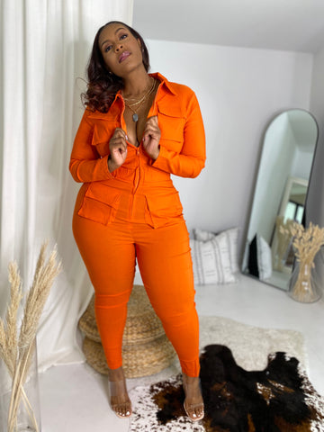 Falling for You | Orange Stretch Denim Jumpsuit