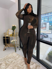 All the Glitz | Diamonte Black Bodysuit W/ Detachable Jumpsuit