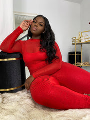 All the Glitz | Diamonte Red Bodysuit W/ Detachable Jumpsuit
