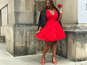 Love to Lace | Red Stretch Lace and tulle dress