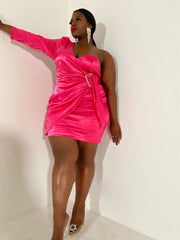 Pretty in Pink | Stretch Satin Dress
