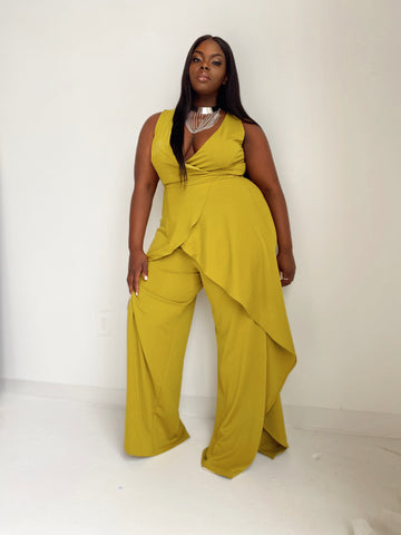 Showing Out| Chartreuse Split Leg Jumpsuit