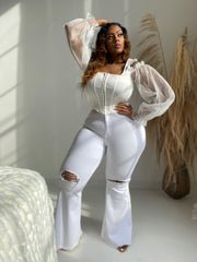 Soft Thoughts | White Mesh long Sleeve Corset Top