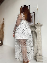 Sweet Escape | Ivory Sheer Polka Dot Set
