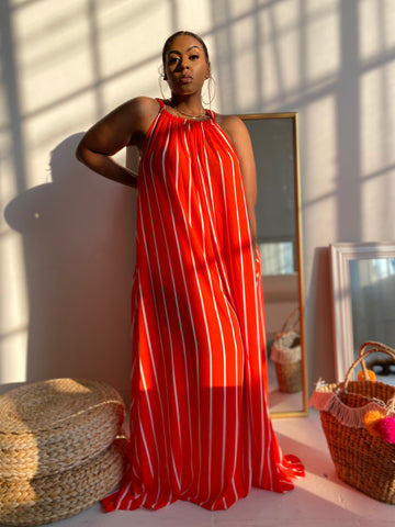 Take Me Away | Tangerine Stripe Maxi Dress