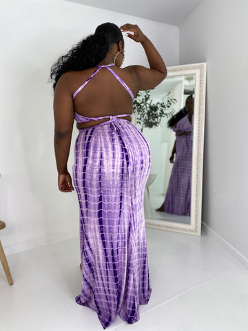 Heat Wave | Tye Dye Maxi Skirt Set- Lilac