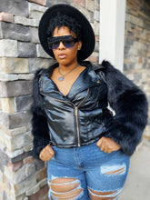 Load image into Gallery viewer, Whip Appeal |Faux Fur Sleeve Moto jacket