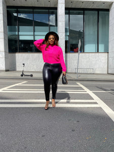 Cutting Ties | Pink Chunky Cable knit Sweater