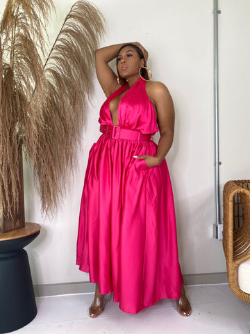 Major Moment | Wide Leg Satin Jumpsuit Pink