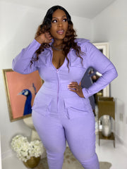 Falling for You | Lilac Stretch Denim Jumpsuit